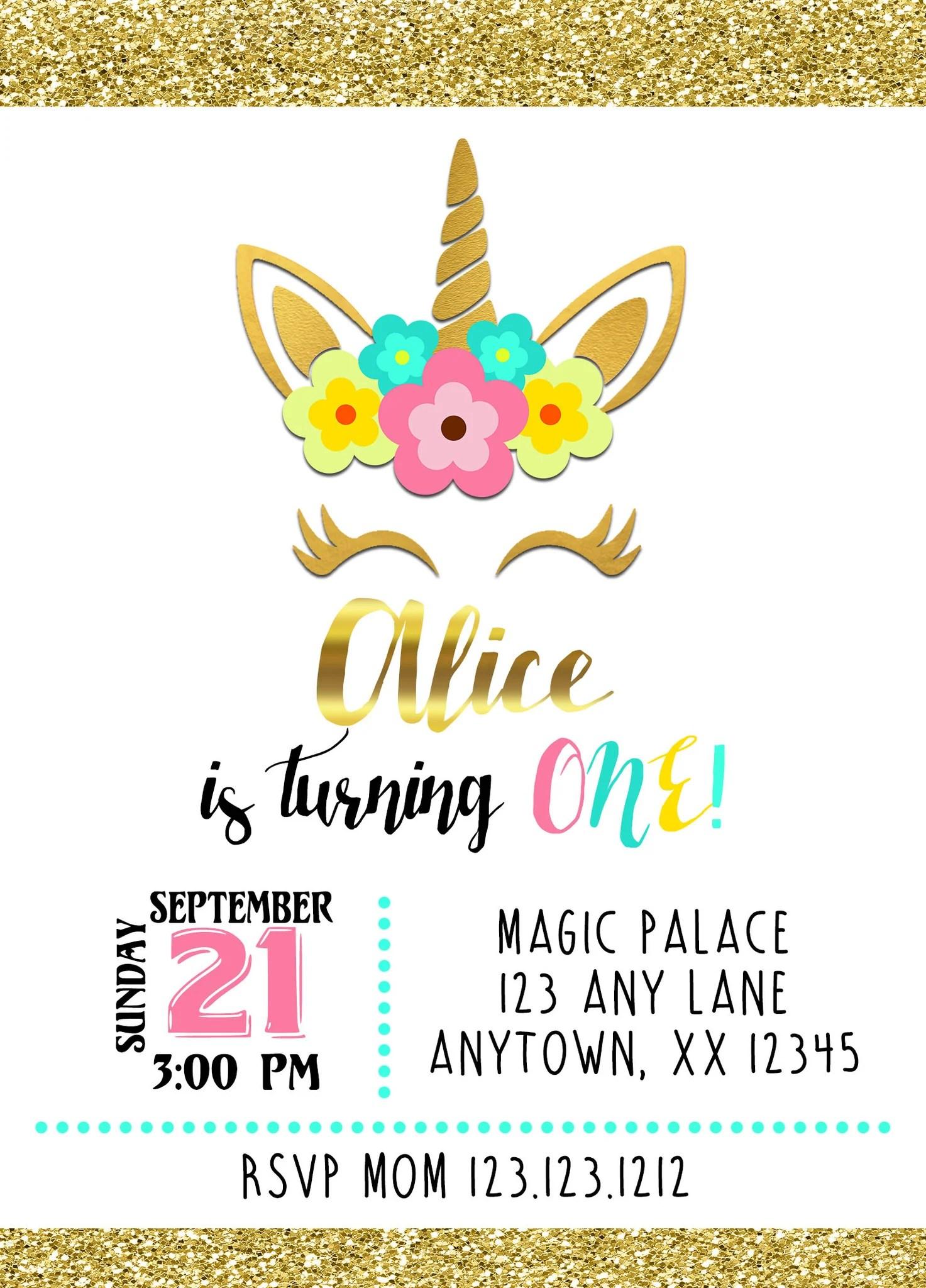 magical unicorn birthday invitations