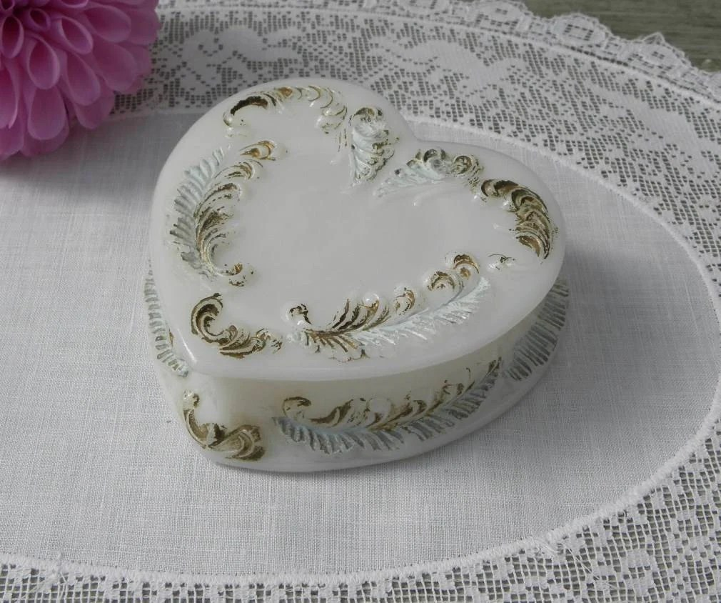 Antique Painted Milk Glass Heart Shaped Trinket Box The