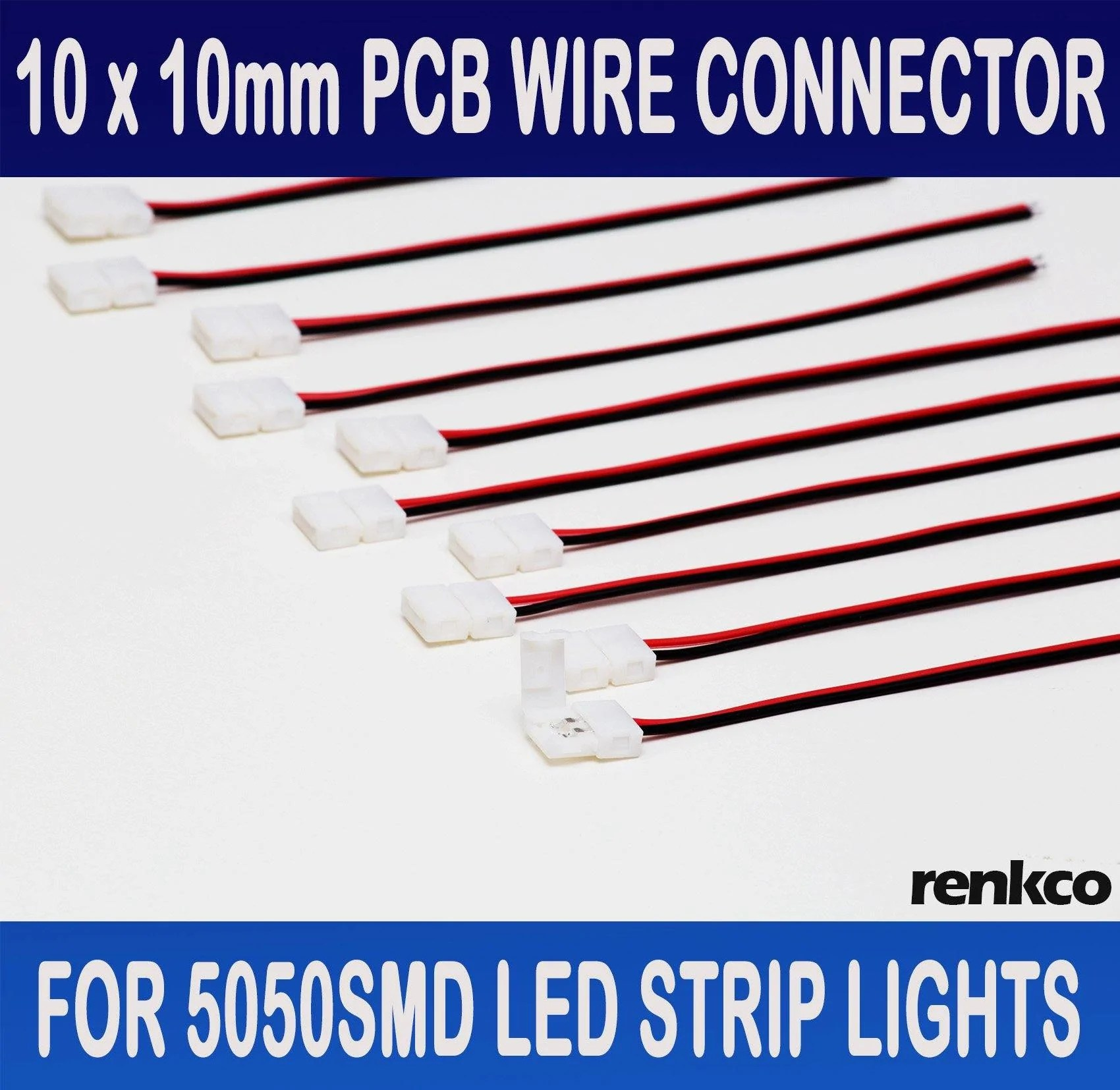 hight resolution of renkco renkco 10pcs 10mm pcb board with wire connector for 5050 led strip lights oz