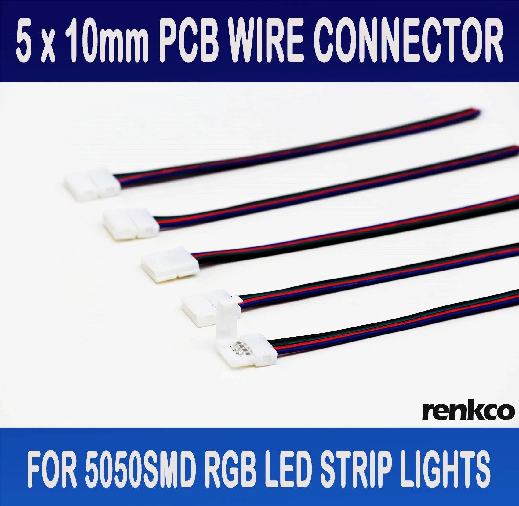 medium resolution of renkco 5pcs 10mm pcb board with wire connector for 5050 rgb led strip lights leds