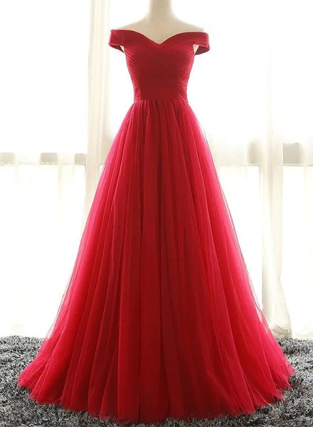 Red A line tulle off shoulder long prom dress red evening