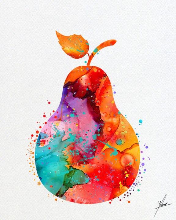 pear watercolor art print