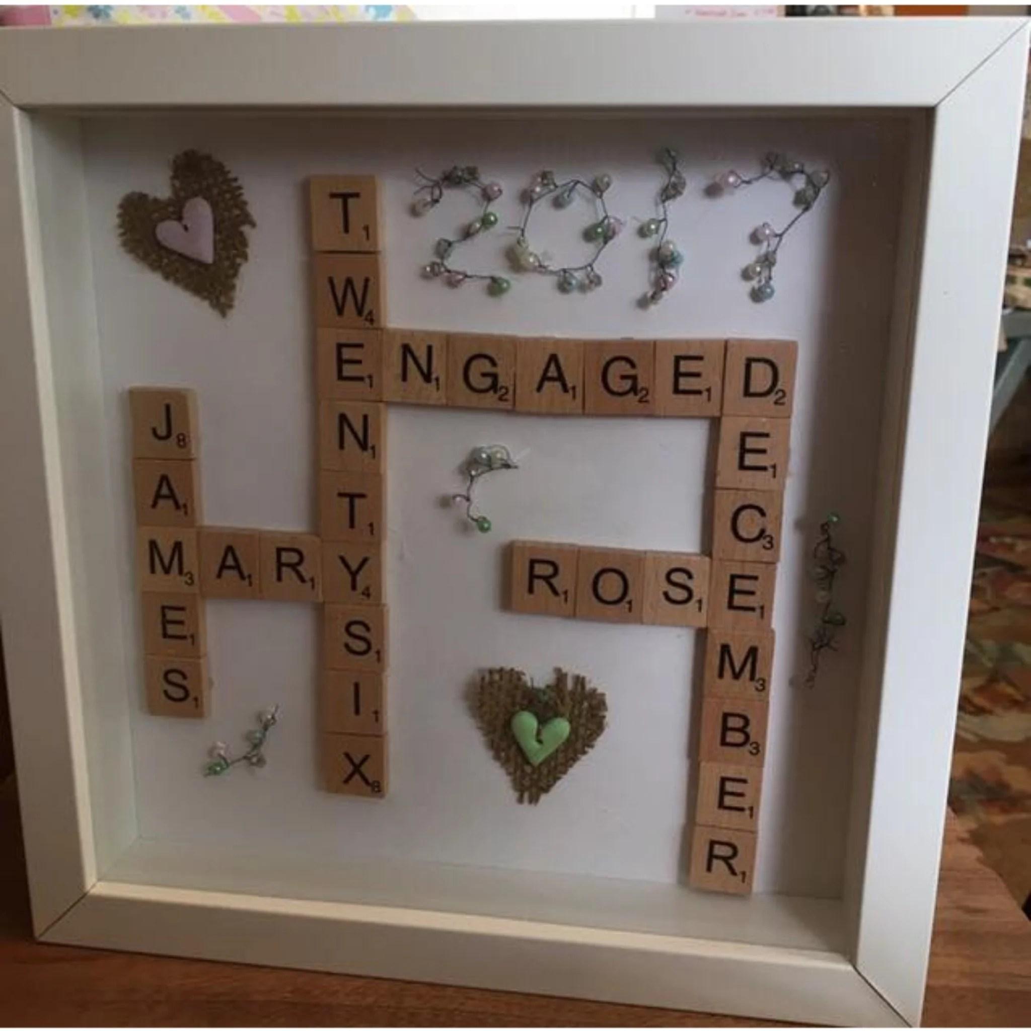 wooden scrabble tile personalised frame