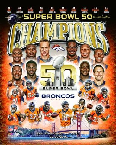denver broncos super bowl 50 champions 10 player commemorative premium poster print photofile