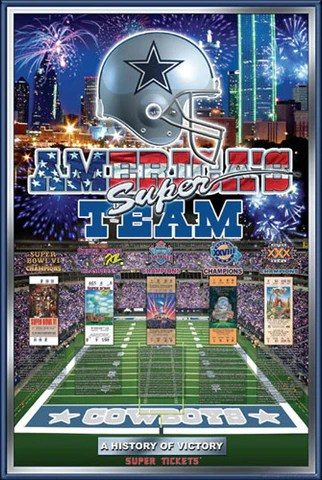 dallas cowboys history of victory 5 time super bowl champs poster action images