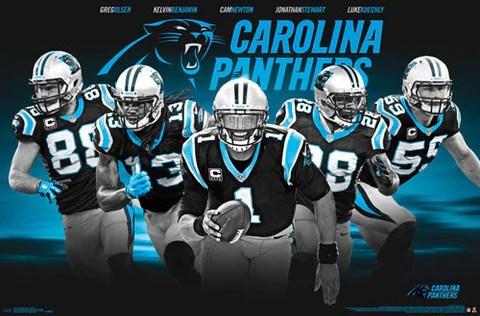 carolina panthers superstars 5 player nfl action poster trends international