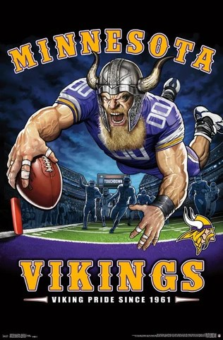 minnesota vikings viking pride since 1961 nfl theme art poster liquid blue trends int l