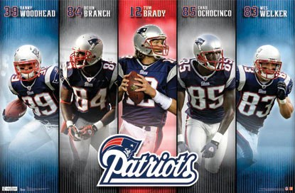 new england patriots offensive poster brady branch welker costacos 2011