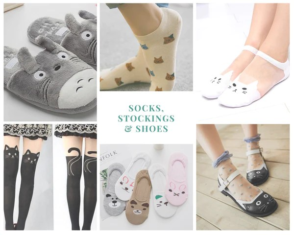 cat print socks, stockings and shoes