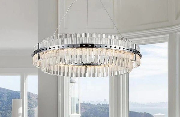Buy Round Glass Chandelier Modern Style Living Room