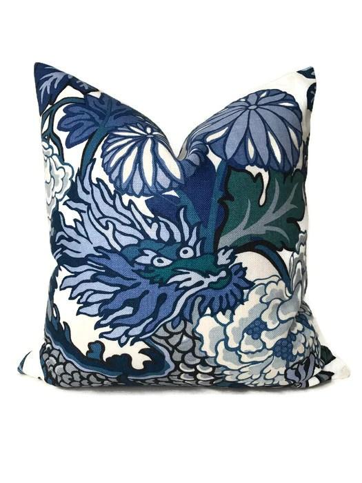 schumacher chiang mai dragon pillow cover in china blue dekowe