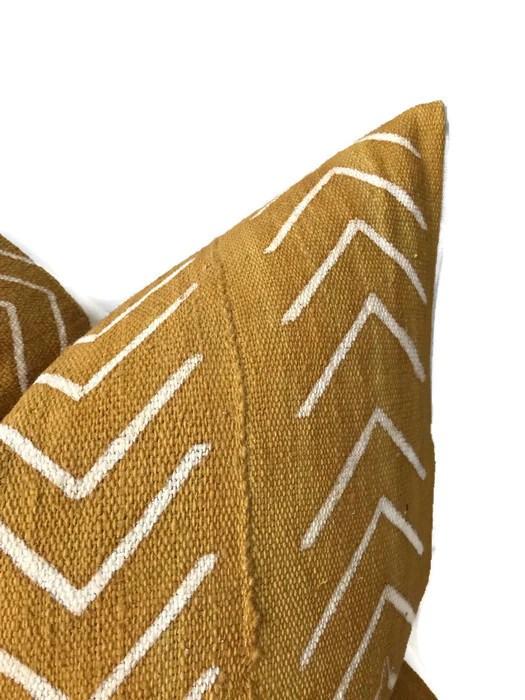 chevron print mudcloth pillow cover in mustard yellow dekowe