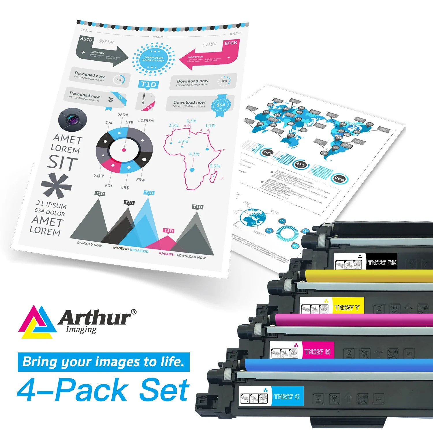 hight resolution of  arthur imaging compatible toner cartridge replacement for brother tn223 tn227 1 black 1 cyan
