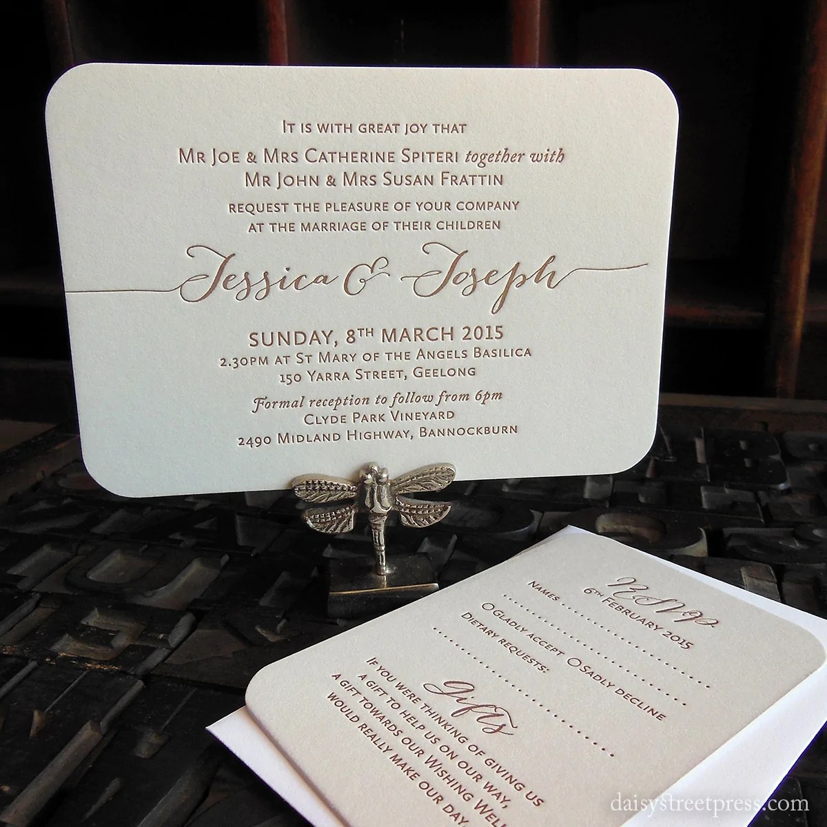 Love Letters Letterpress Wedding Invite Set