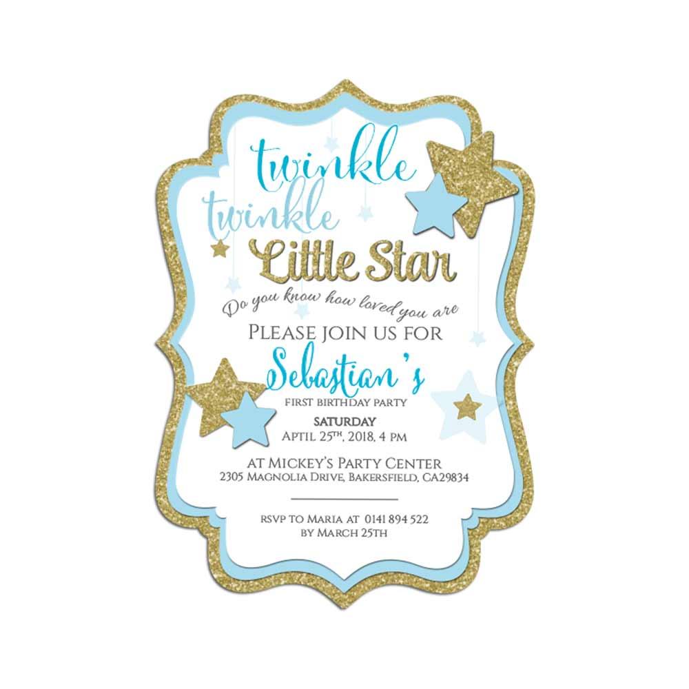 blue twinkle twinkle little star birthday invitation