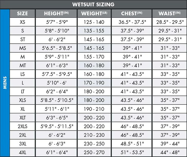 Men   wetsuit size chart also charts  neill rh usill