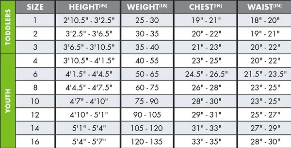 Youth wetsuit size chart also charts   neill rh usill