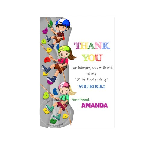 climbing birthday party printable invitation with free thank you card diy digital file climbing rock birthday party invite you print