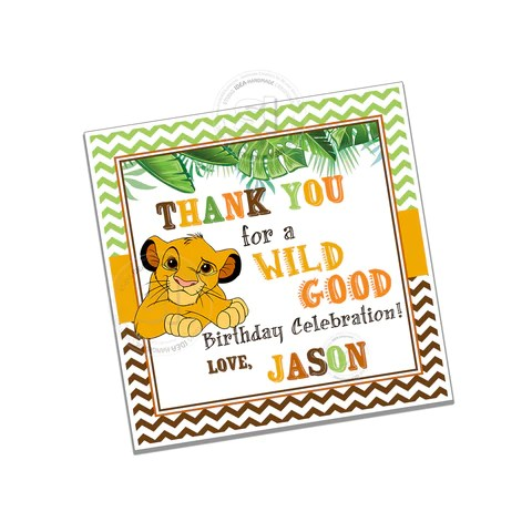 simba lion king birthday party printable invitation with free thank you tag diy digital file simba lion king birthday invitation you print