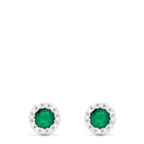 Effy Brasilica 14K White Gold Emerald and Diamond Stud Earrings, 0.82 TCW