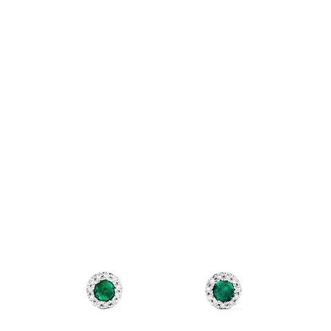 Effy Brasilica 14K White Gold Emerald and Diamond Stud Earrings, 0.39 TCW