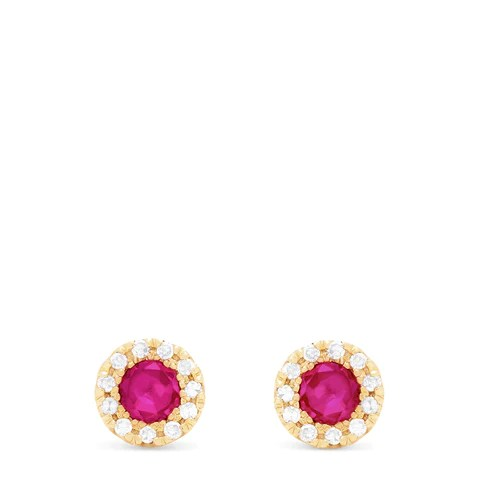 Effy Ruby Royale 14K Yellow Gold Ruby and Diamond Stud Earrings, 0.47 TCW
