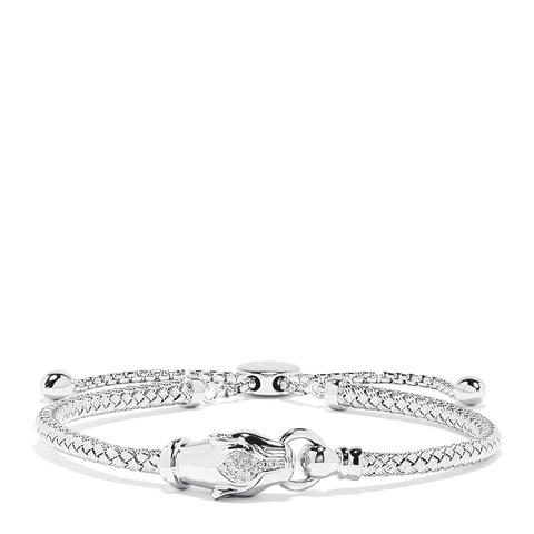 Effy 925 Sterling Silver Diamond Panther Bracelet, 0.05 TCW