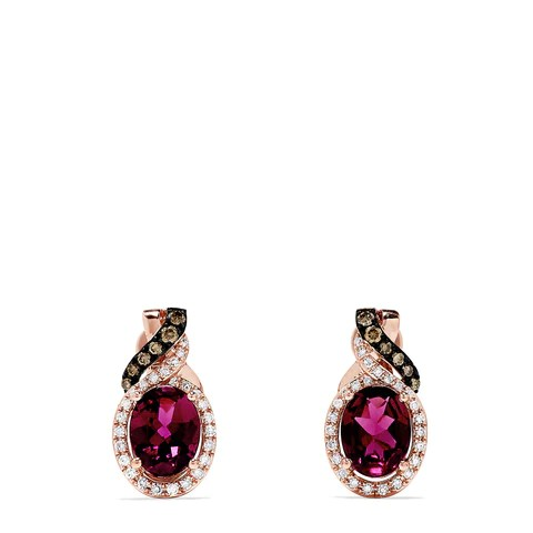 Effy Bordeaux 14K Rose Gold Rhodolite and Diamond Earrings, 3.42 TCW