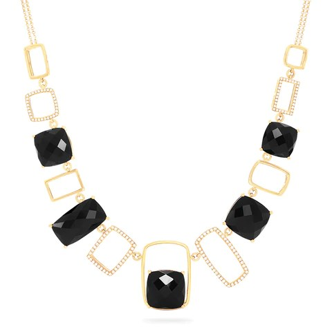 Effy Eclipse 14K Yellow Gold Onyx and Diamond Necklace, 43.05 TCW