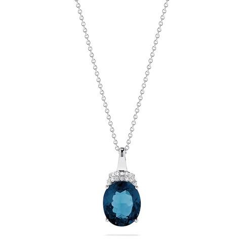 Effy 14K White Gold Blue Topaz and Diamond Pendant, 5.36 TCW