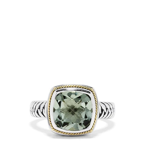 Effy 925 Sterling Silver and 18K Yellow Gold Green Amethyst Ring, 3.90 TCW