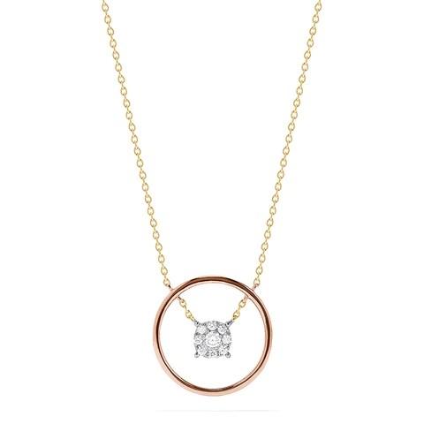 Effy Bouquet 14K Tri Color Gold Floating Diamond Cluster Necklace, 0.20 TCW