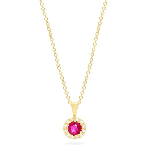 Effy Ruby Royale 14K Yellow Gold Ruby and Diamond Pendant, 0.49 TCW