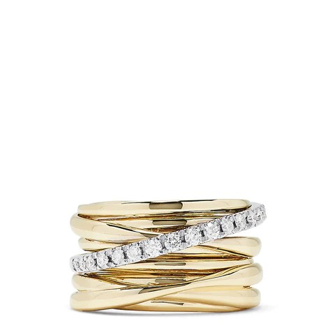 Effy D'Oro 14K Yellow and White Gold Diamond Crossover Ring, 0.39 TCW