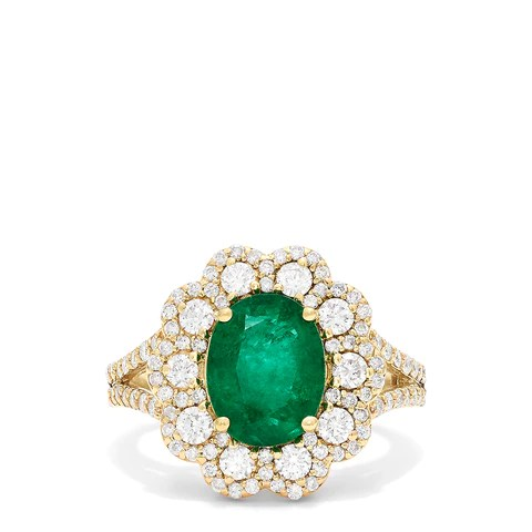 Effy Brasilica 14K Yellow Gold Emerald and Diamond Ring, 3.20 TCW
