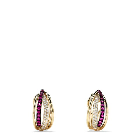 Effy Ruby Royale 14K Yellow Gold Ruby and Diamond Earrings, 0.62 TCW
