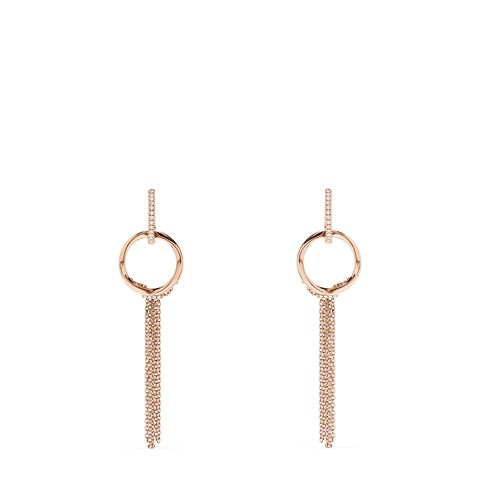 Effy Pave Rose 14K Gold Diamond Tassel Earrings, 0.16 TCW