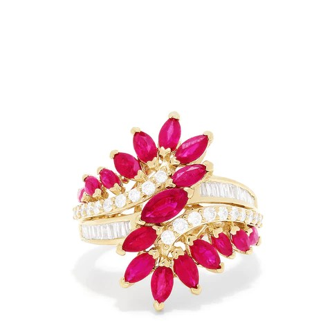 Effy Ruby Royale 14K Yellow Gold Ruby and Diamond Ring, 3.76 TCW