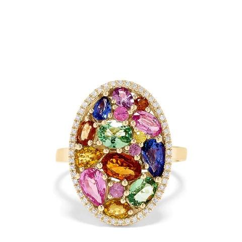 Effy Watercolors 14K Yellow Gold Multi Sapphire & Diamond Ring, 4.35 TCW