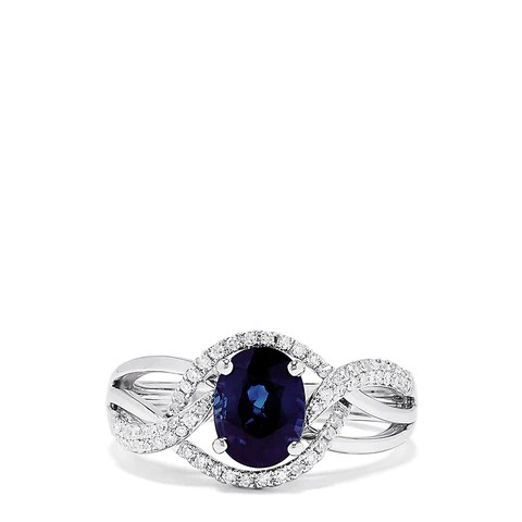 Effy Royale Bleu 14K White Gold Sapphire and Diamond Ring, 1.67 TCW