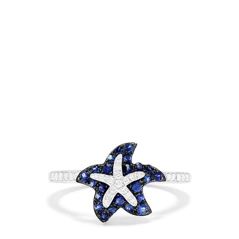Effy Seaside 14K White Gold Sapphire & Diamond Starfish Ring, 0.46 TCW