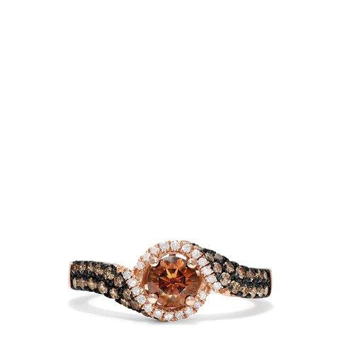 Effy Espresso 14K Rose Gold Espresso and White Diamond Ring, 0.93 TCW