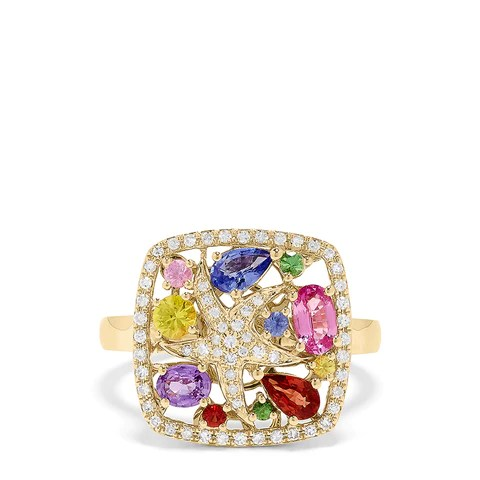 Effy Watercolors 14K Gold Multi Sapphire & Diamond Starfish Ring, 1.57 TCW