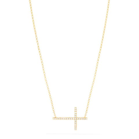 Effy Novelty 14K Yellow Gold Diamond Cross Necklace, 0.09 TCW