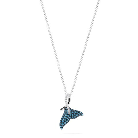 Effy Novelty 14K Gold Blue & White Diamond Whale Tail Pendant, 0.50 TCW