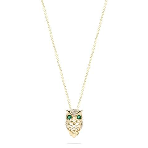 Effy Safari 14K Yellow Gold Emerald and Diamond Owl Pendant, 0.18 TCW
