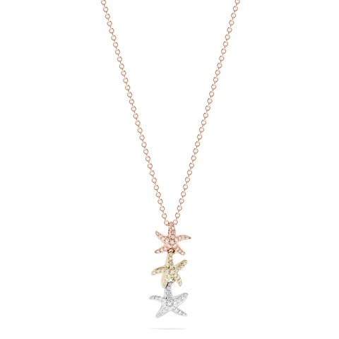 Effy Trio 14K Tri Color Gold Diamond Starfish Trio Pendant, 0.23 TCW