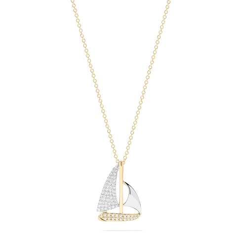 Effy Novelty 14K Two Tone Gold Diamond Sailboat Pendant, 0.27 TCW