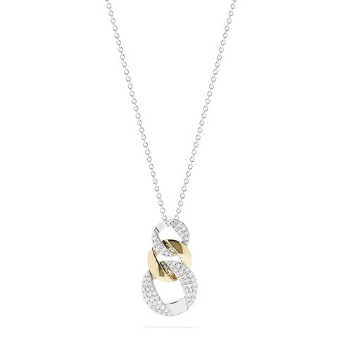 Effy Duo 14K Two Tone Gold Diamond Links Pendant, 0.27 TCW