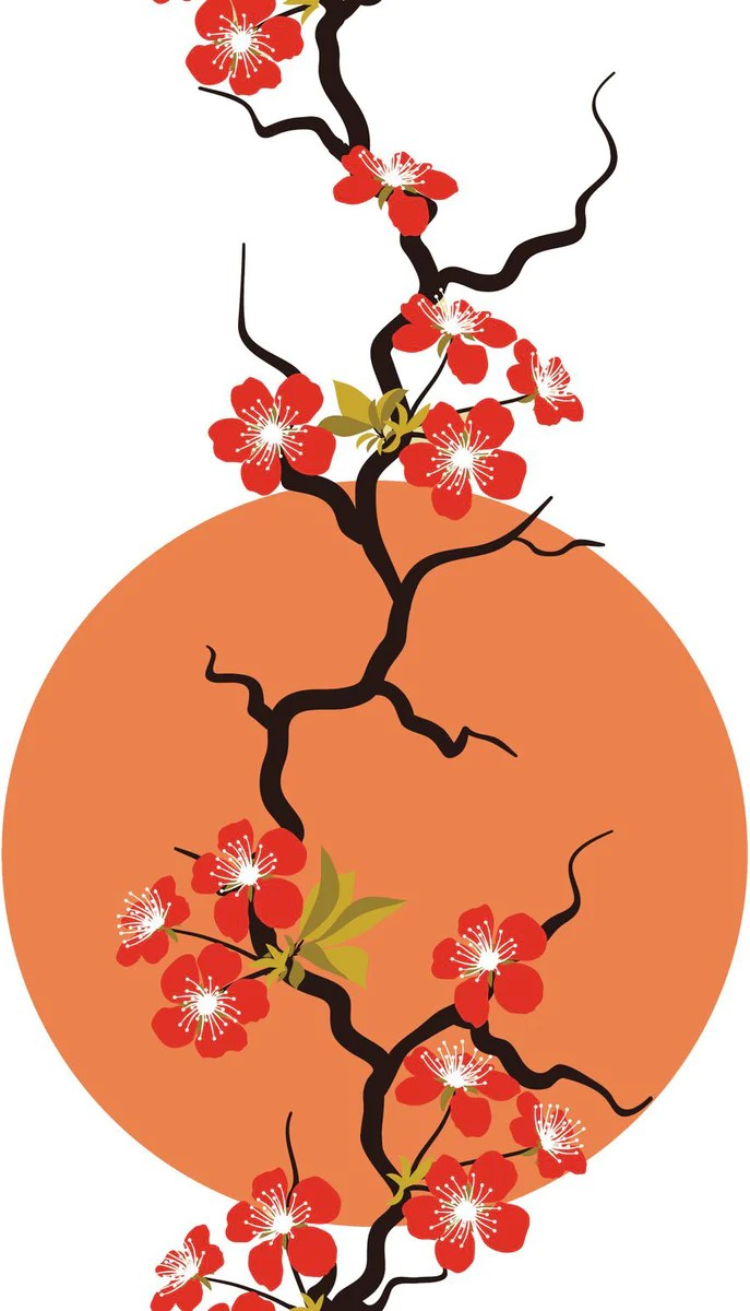 red cherry blossoms with